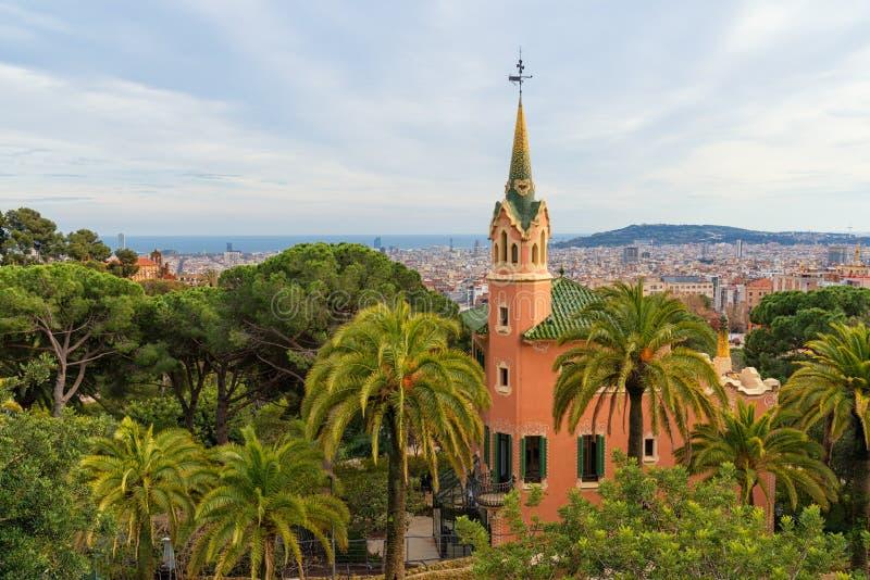 Antonio Gaudi house in park Guell, Barcelona. Catalonia, Spain. Cityscape royalty free stock photography