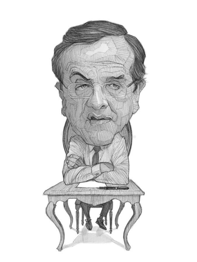 Antonis Samaras Caricature Sketch. For editorial use