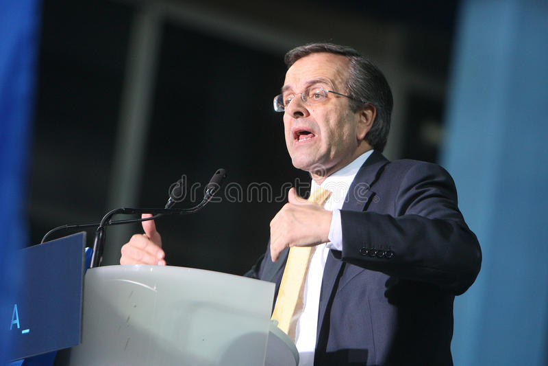 Antonis Samaras Greek Primeminister stock afbeelding