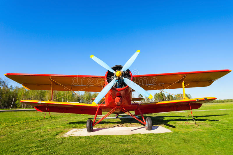 The Antonov An-2 aircraft. MINSK, BELARUS - MAY 05, 2016: The Antonov An-2 aircraft in the open air museum of old civil aviation near Minsk airport. An-2 is a royalty free stock photography