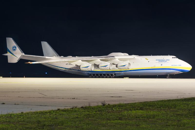 Antonov An225 airplanes during Coronavirus Corona Virus COVID-19 at Leipzig Airport in Germany stock photos