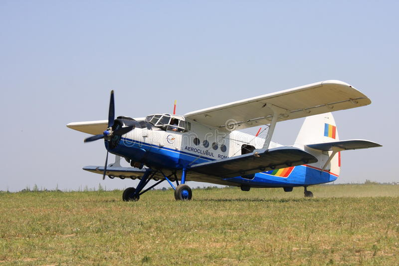 Antonov AN2 airplane. Romanian biplane Antonov AN2 in an airshow stock image