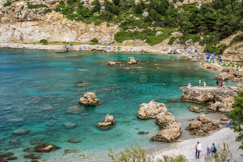 Antony queen beach on Rhodes island, Greece royalty free stock images