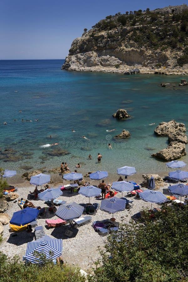 Antony Quinn-strand, het eiland van Rhodos, Griekenland stock fotografie