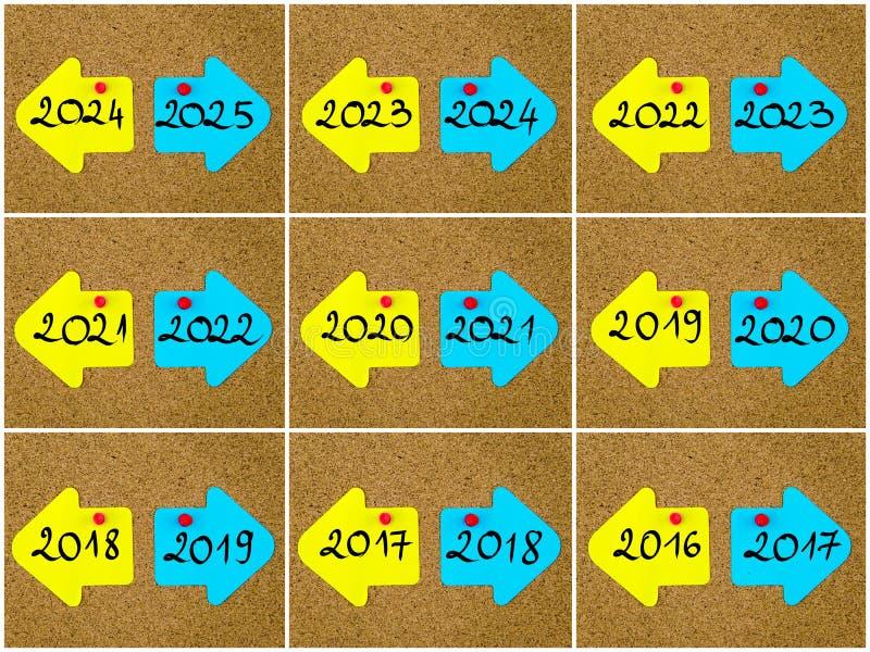 Antonymbegrepp av det skriftliga nya gamla året för år kontra på motsatta pilar vektor illustrationer