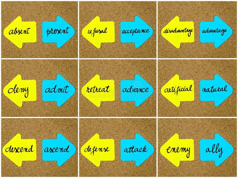 Antonymbegrepp som är skriftliga på motsatta pilar vektor illustrationer