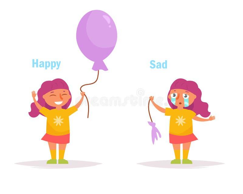 antonyms Den lyckliga ledsna flickan med en helhet och en bristning sväller vektorn stock illustrationer