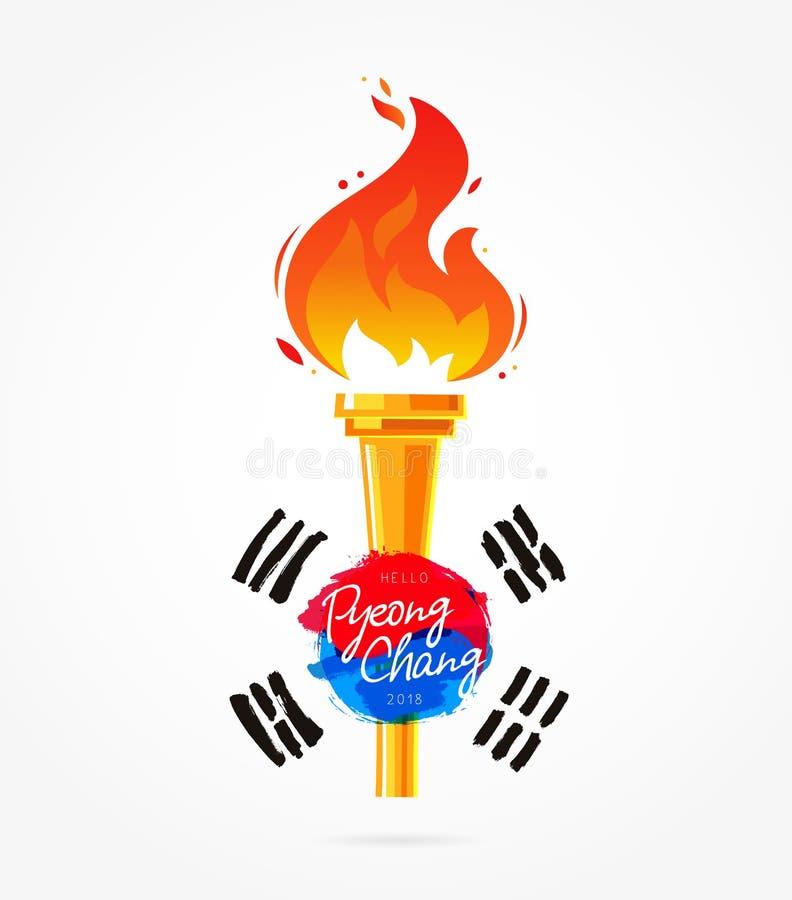 Antorcha con la bandera de la Corea del Sur stock de ilustración