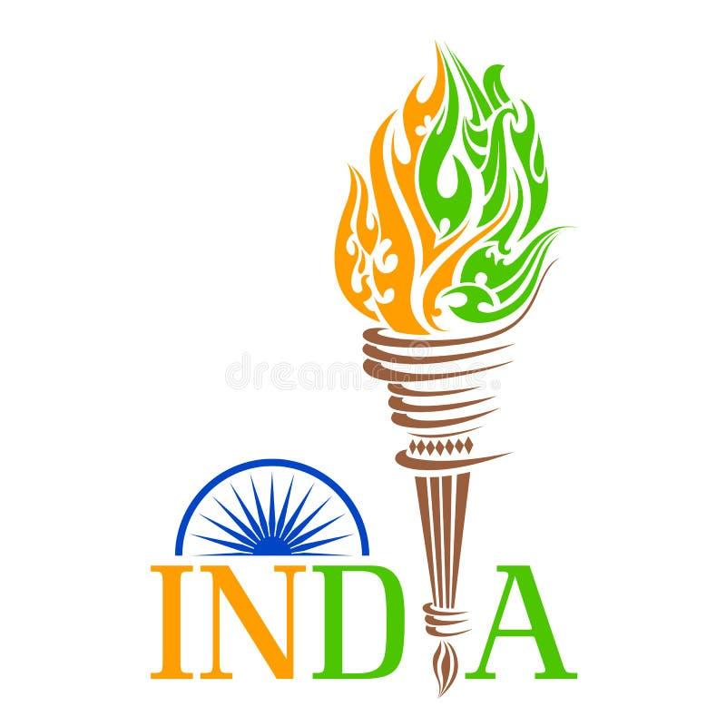 Antorcha del fuego con la llama del tricolo de la India libre illustration