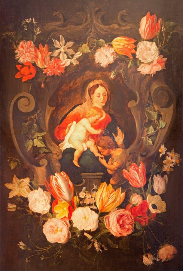 Antowerp - Madonna con il bambino e lo St John il battista fra i fiori Pittura in corridoio laterale della chiesa della st Pauls immagine stock libera da diritti