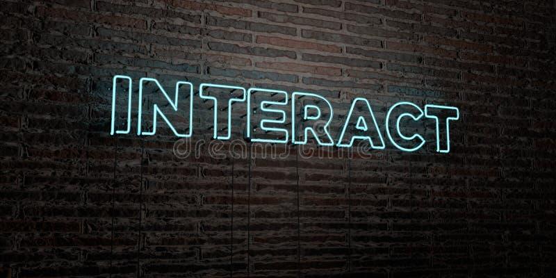 ANTRAKT - Realistyczny Neonowy znak na ściana z cegieł tle - 3D odpłacający się królewskość bezpłatny akcyjny wizerunek ilustracja wektor