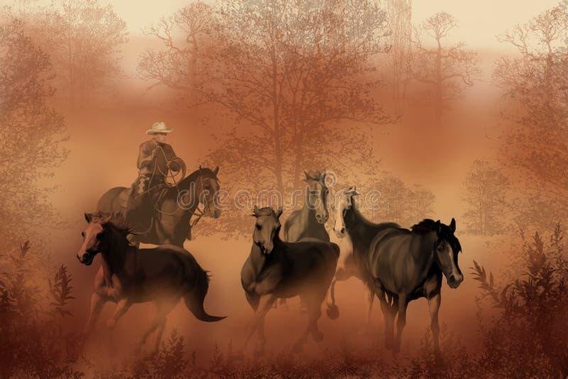 Antreiben der Herde stock abbildung