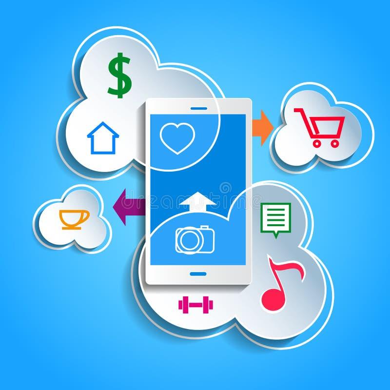 Antriebskraftdatenkonzept Smartphone, das Daten synchronisiert lizenzfreie abbildung