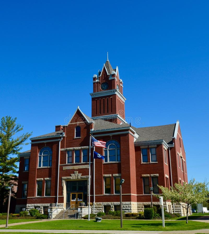 Antrim County Courthouse. This is a Spring picture of the Antrim County Courthouse located in Bellaire, Michigan. The courthouse was designed by Jens C. Peterson stock images