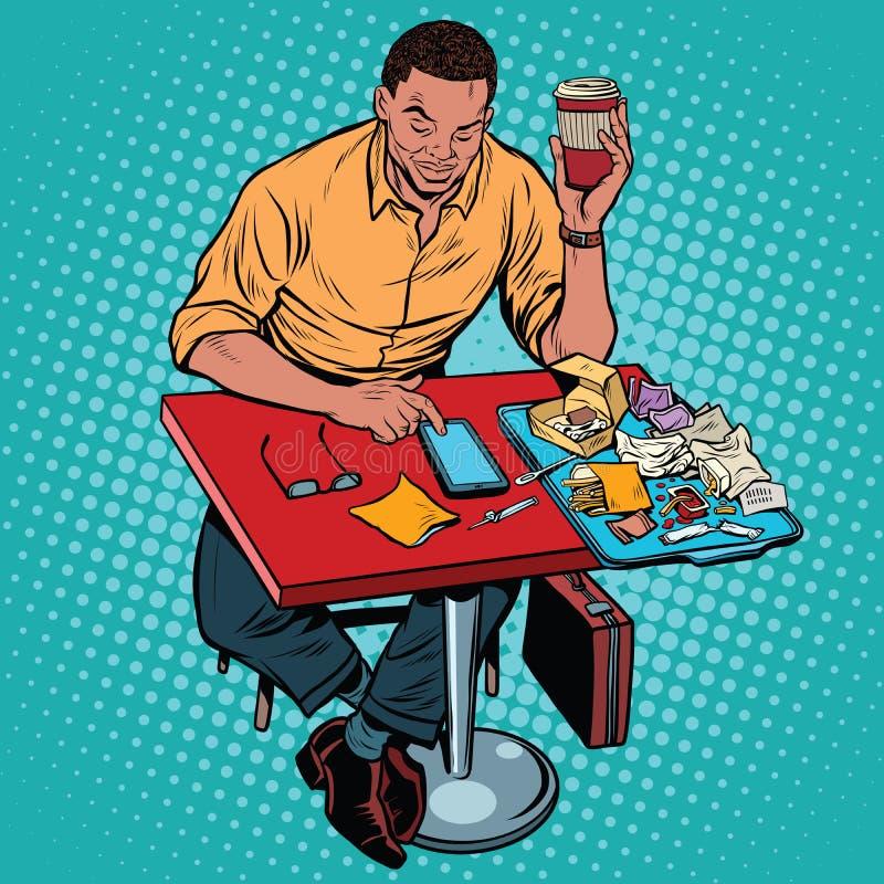 Antropófago afro-americano no fasfud do restaurante e lê s ilustração stock