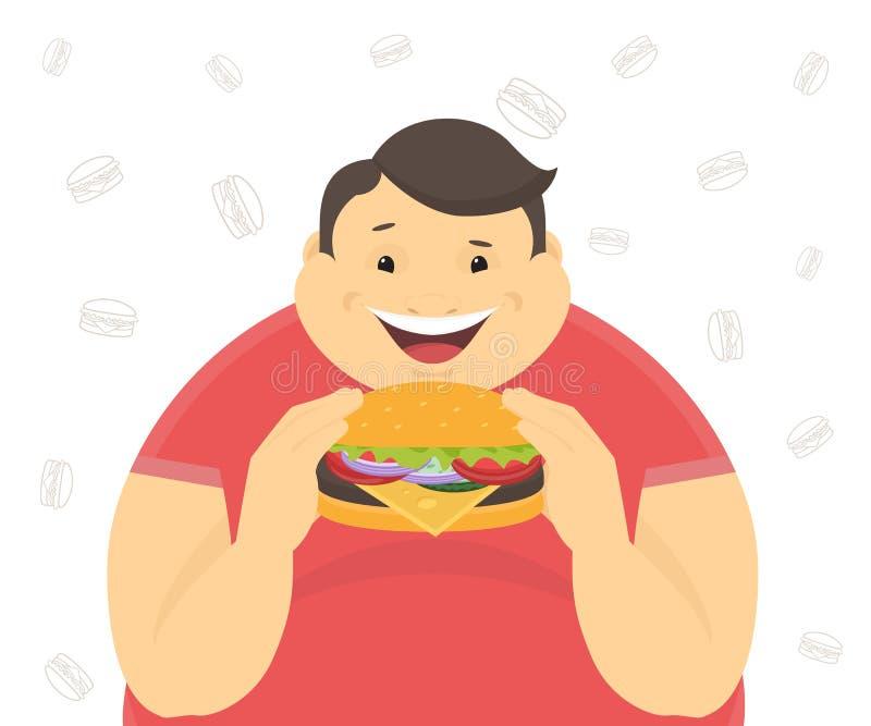 Antropófago gordo feliz una hamburguesa grande stock de ilustración