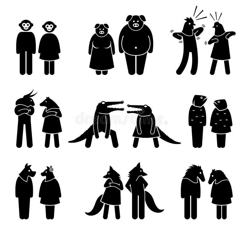 Antropomorficzni charaktery samiec i kobieta royalty ilustracja