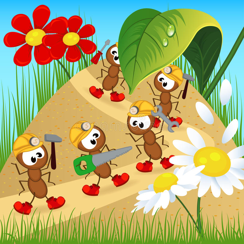 Ants builders with tools. Vector illustration, eps vector illustration