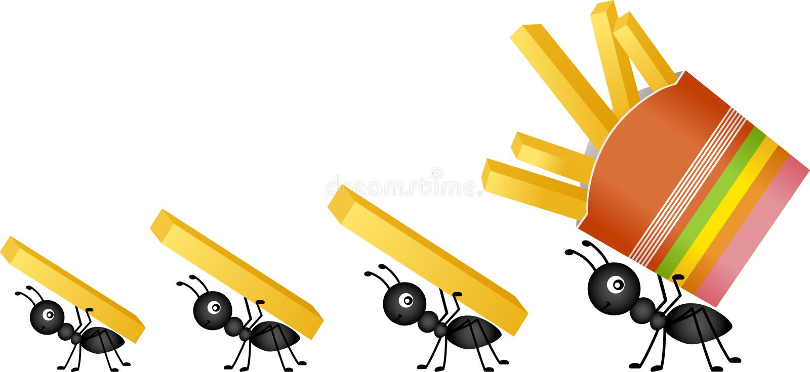 Ants carrying french fries stock illustration