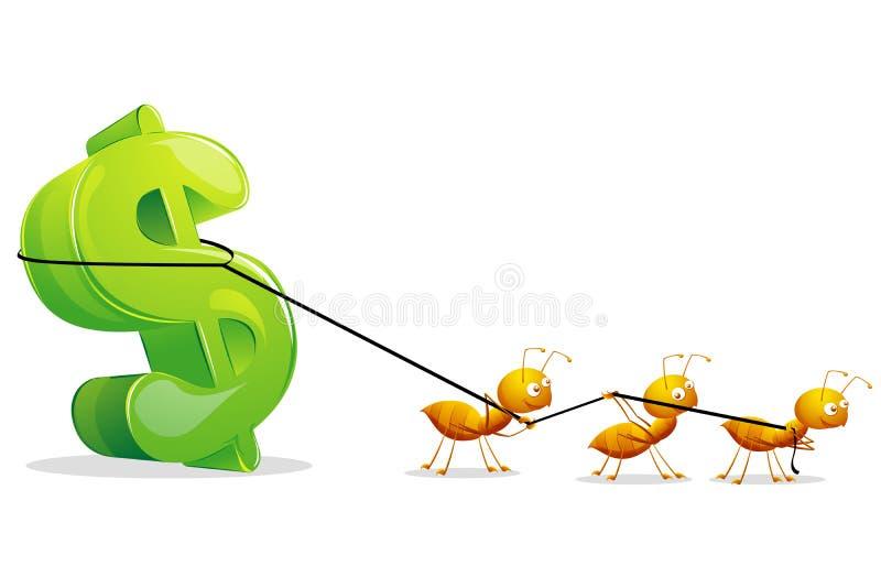 Ants dragging Dollar vector illustration