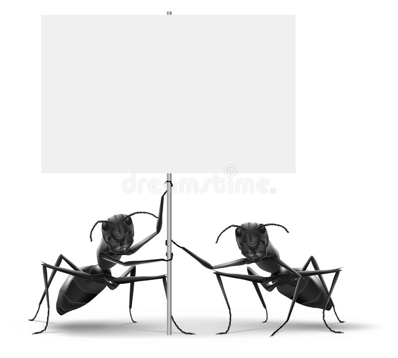 Ants holding blank protest or advertising placard stock illustration