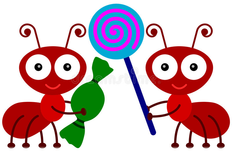 Ants love candies. A cute illustration of two ants carrying candies stock illustration