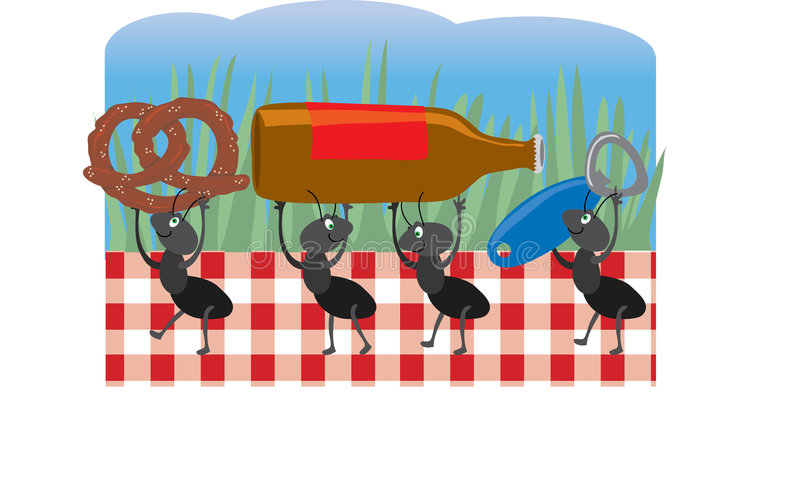 Ants at a Picnic. Ants carrying off food from a picnic vector illustration