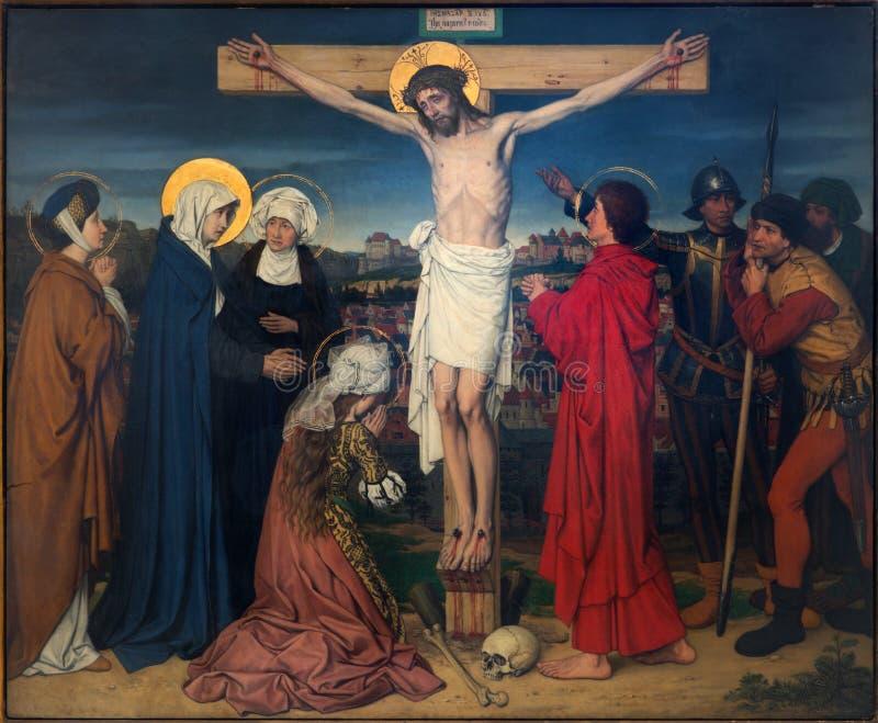 Antuérpia - crucificação como parte de sete amarguras do ciclo do Virgin por Josef Janssens dos anos 1903 - 1910 na catedral de no imagem de stock royalty free
