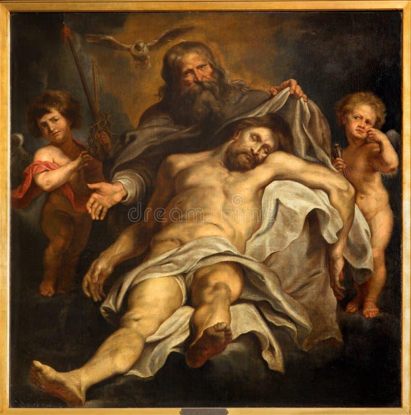 Antuérpia - depósito da cruz por Peter Paul Rubens em Sint-Willibrorduskerk imagem de stock