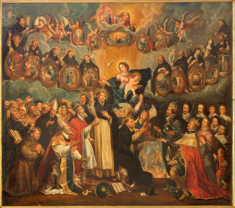 Antuérpia - o St Dominic com o rosário e o Madonna (17 centavo por pintor desconhecido na igreja de Willibrordus de Saint ilustração stock