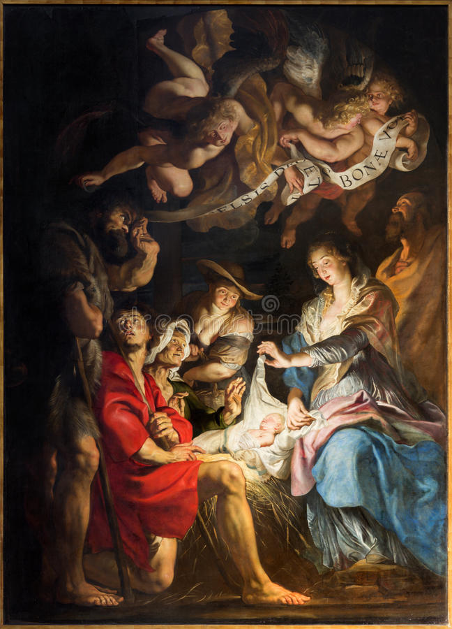 Antuérpia - pintura da cena da natividade pelo grande pintor barroco Peter Paul Rubens na igreja de Pauls de Saint (Paulskerk) foto de stock royalty free