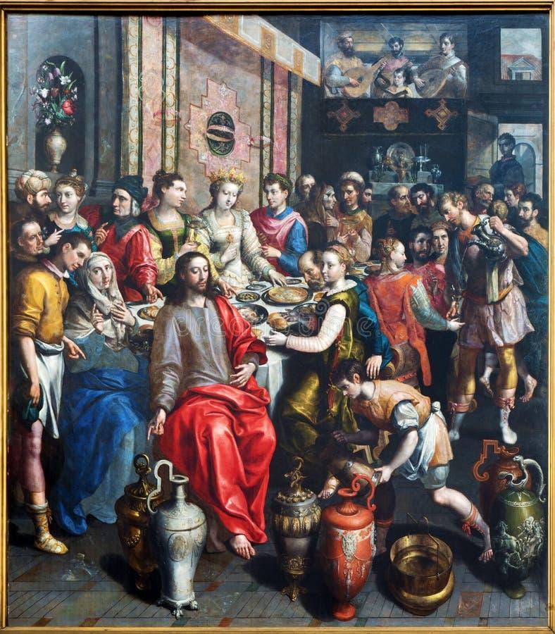 Antuérpia - pintura do milagre na cena de Cana por Maerten de Voos do ano 1597 na catedral de nossa senhora imagens de stock