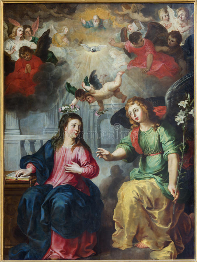 Antwerp - The Annunciation. Paint by Hendrick Van Balen from year 1615 in St. Pauls church (Paulskerk). On September 5, 2013 in Antwerp, Belgium royalty free stock photography