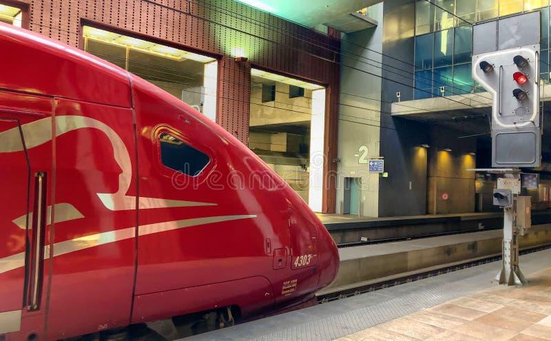 Antwerp Belgia, Czerwiec, - 2019: Paryski obszyty Thalys prędkości wysoki pociąg tgv obrazy royalty free