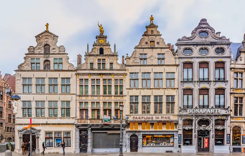 Cityscape with traditional gothic medieval guildhouses on Grote Markt square, Great Market square in old town Antwerp, Belgium royalty free stock photos