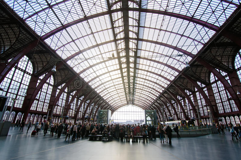 Antwerp. BELGIUM - OCTOBER 26: Symmetrical composition of the main hall of the famous  Railway train station, also known as the cathedral amongst stations on stock image
