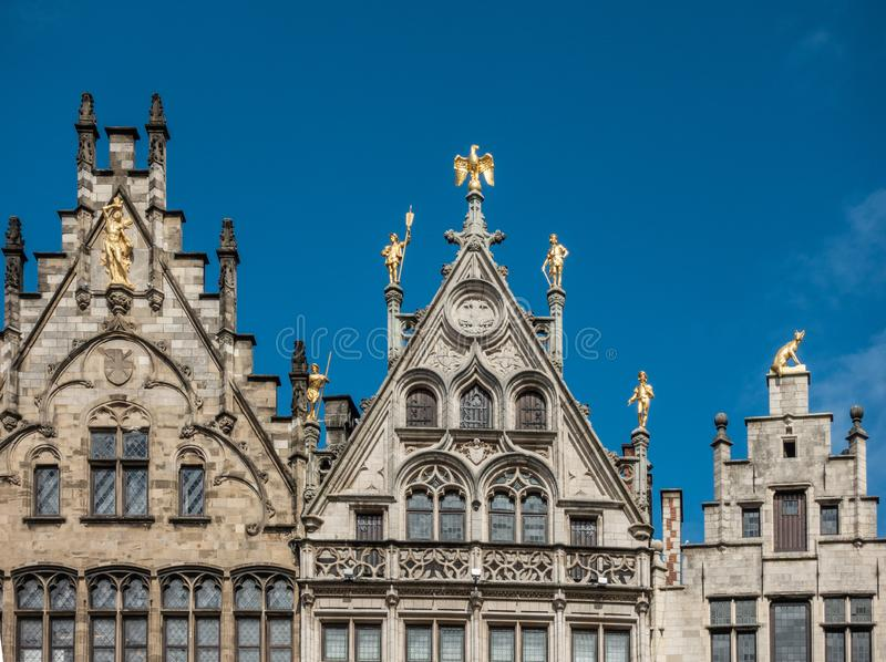 Facade tops on Central Square, Grote Markt, Antwerp Belgium. stock photography