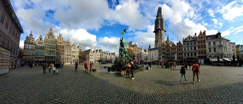 Antwerp Belgium Square. Fountain, cobblestone royalty free stock photo