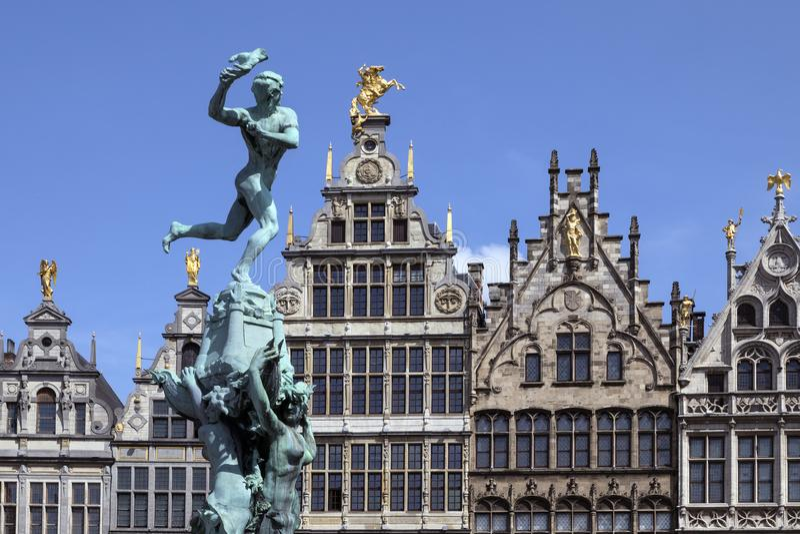 Antwerp - Belgium - Statue of Silvius Brabo royalty free stock images
