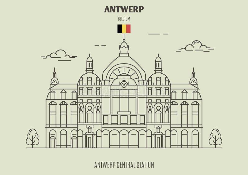 Antwerp centrali stacja, Belgia Punkt zwrotny ikona royalty ilustracja