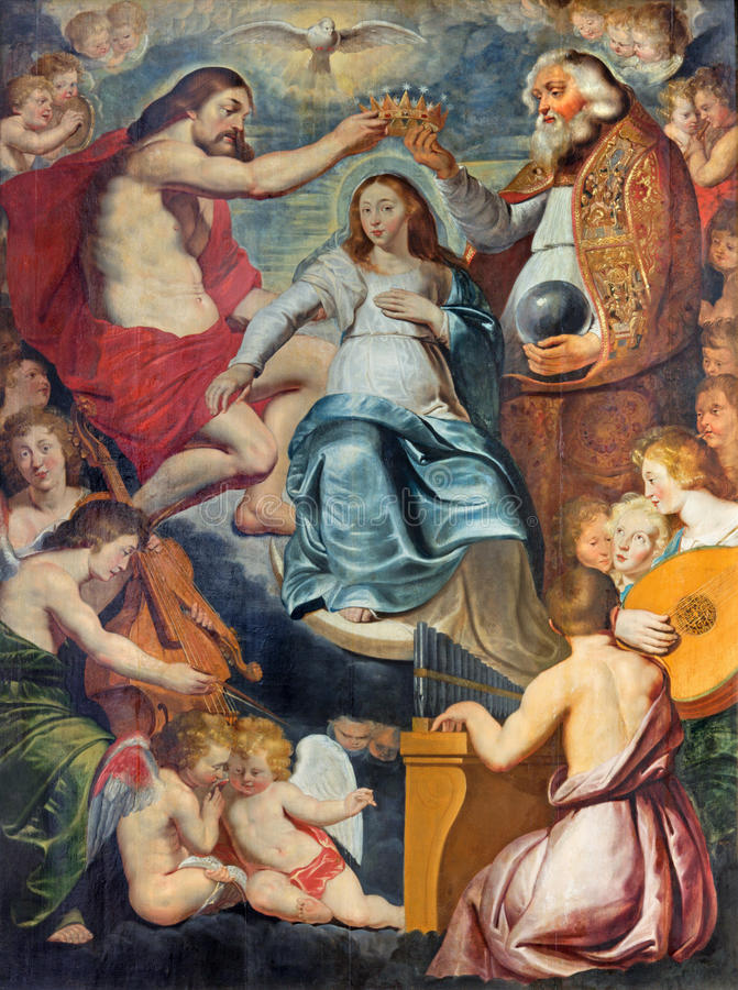 Antwerp - The Coronation of Virgin Mary painting by Aernout Wickenborg from 17. cent. in St. Pauls church (Paulskerk),. ANTWERP - SEPTEMBER 5: The Coronation of stock images