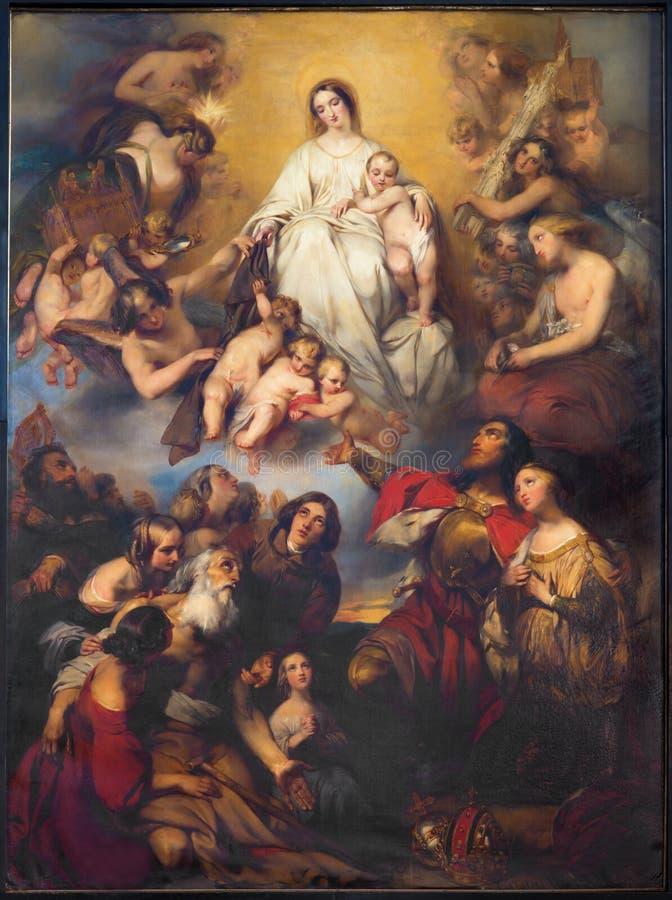 Antwerp - detalj av vår dam från Carmel målarfärg av G. Wappers från slut av. cent 19. på det huvudsakliga altaret av churc för St royaltyfria bilder