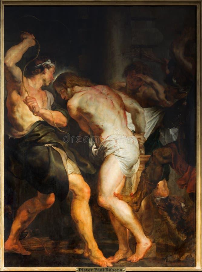 Antwerp - flagellationen av Jesus målarfärg vid barockförlagen Peter Paul Rubens i kyrka för St. Pauls royaltyfria foton