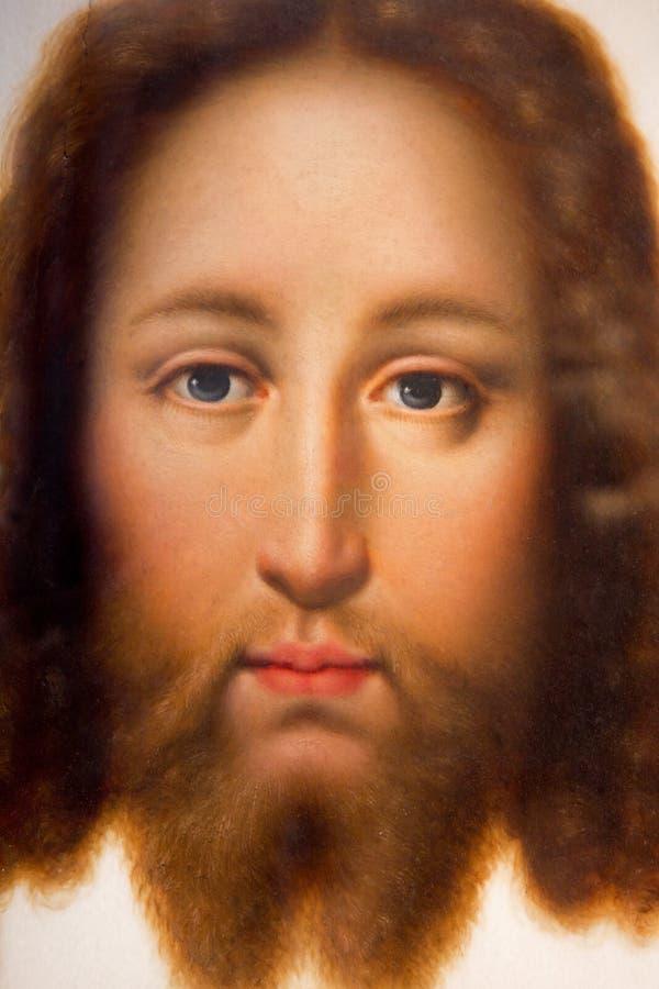 Antwerp - framsidan av Kristus (Vera Effigies) vid den tyska skolan från sen. cent 17. i domkyrkan av vår dam arkivfoto