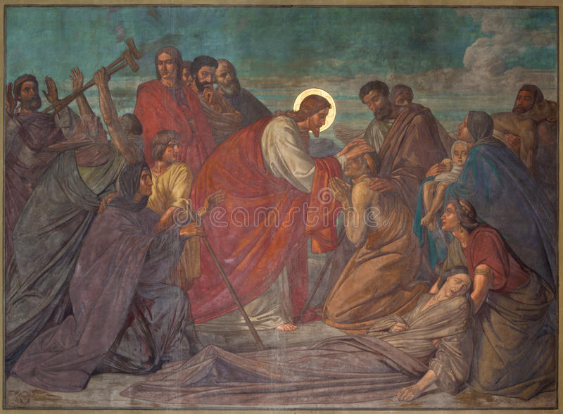 Antwerp - freskomålning av Healed Jesus i den Joriskerk eller St George kyrkan från. cent 19. royaltyfri fotografi