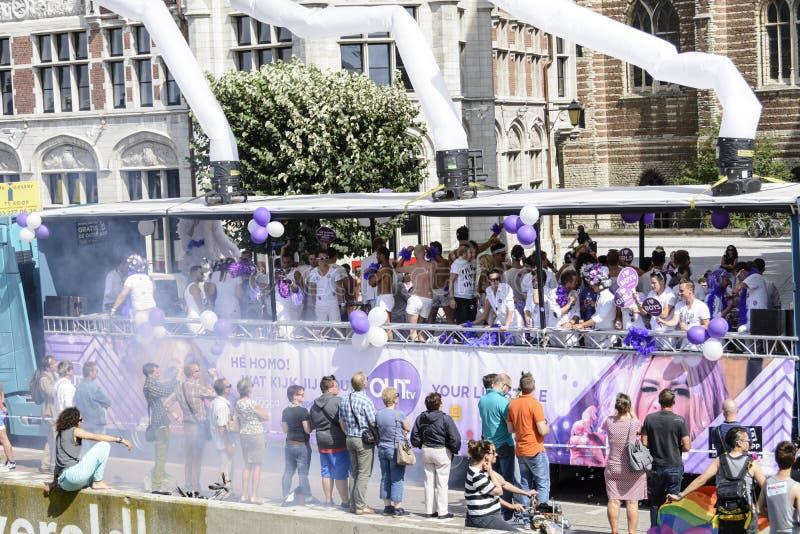 Antwerp Gay Pride 2014. Antwerp, Belgium - August 09, 2014: Antwerp Gay Pride 2014 is held each year in the centre of the city. Antwerp has become one of Europe royalty free stock images