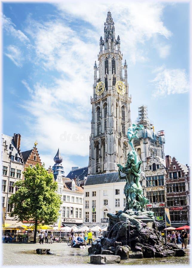 Antwerp Grote Markt kwadrat fotografia stock