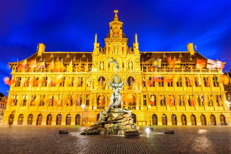 Antwerp, Grote Markt and town hall, Belgium stock images