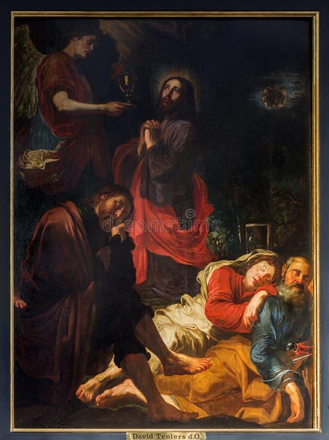 Antwerp - Jesus i den Gethsemane trädgården av David Teniers i kyrkan för St. Pauls (Paulskerk) fotografering för bildbyråer