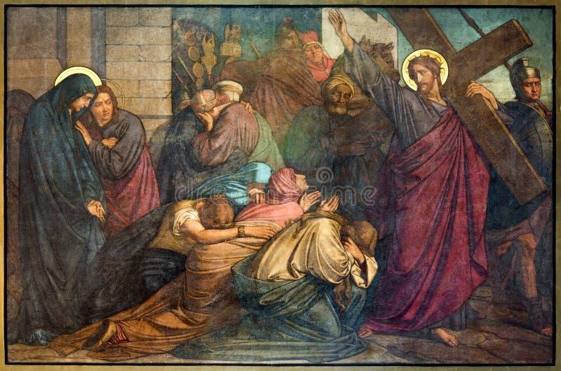 Antwerp - Jesus möter kvinnorna av Jerusalems. Freskomålning i den Joriskerk eller St George kyrkan från. cent 19. royaltyfri bild